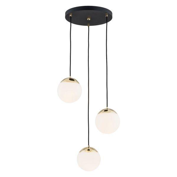 czarna lampa wisząca mleczne kule