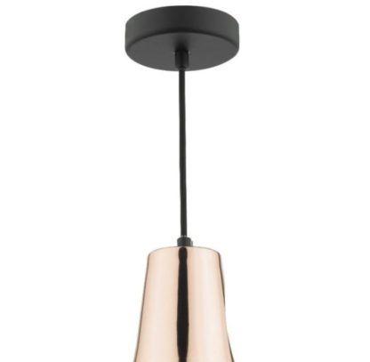 czarna lampa z miedzianą nasadką