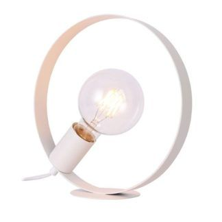 Biała lampa biurkowa Nexo - metalowa obręcz