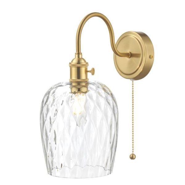 Złoty kinkiet Hadano - dekoracyjny klosz ze szkła