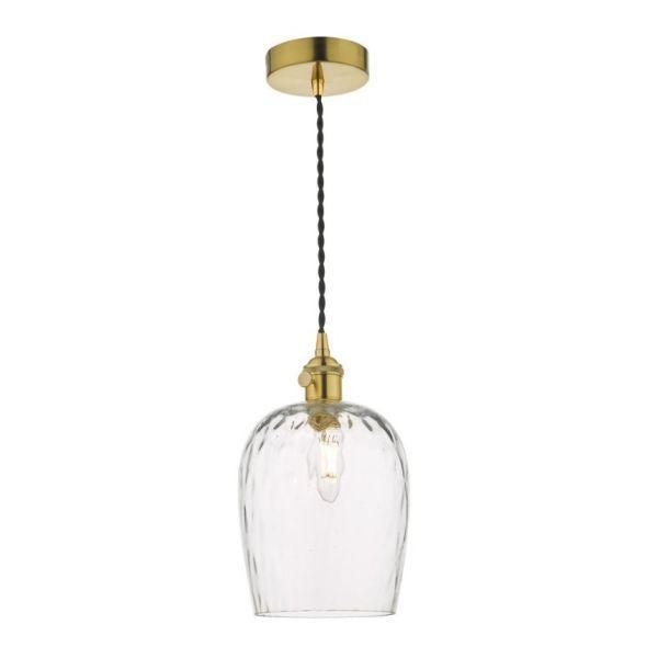 Elegancka lampa wisząca Hadano - szklany klosz, mosiądz