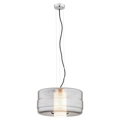 lampa wisząca z dużym, szklanym kloszem