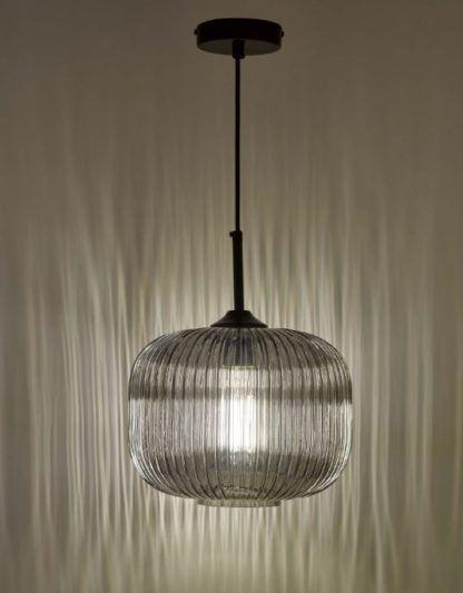 lampa wisząca z dymionego szkła