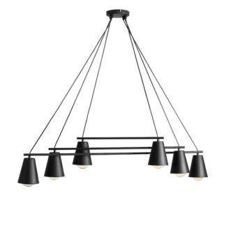 Czarny żyrandol Arte - 6 żarówek - nowoczesny, metalowy
