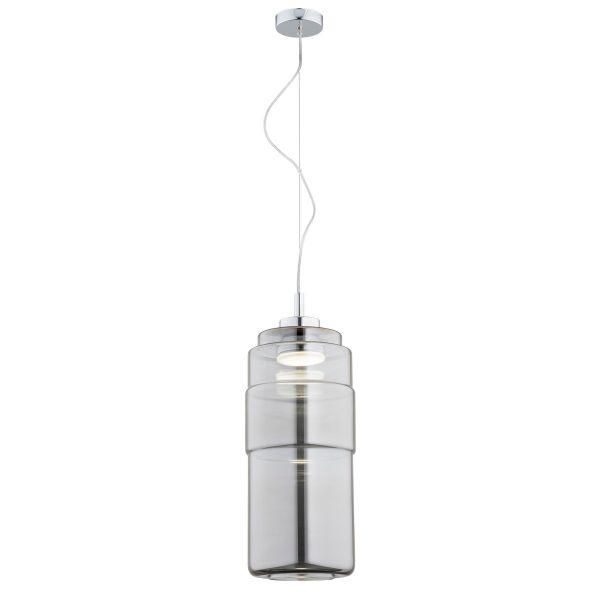 Szklana lampa wisząca Focus - szara, LED
