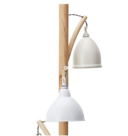 potrójna drewniana lampa podłogowa
