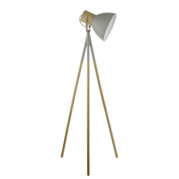 Szara lampa podłogowa Adna - drewniany trójnóg