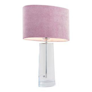 Szklana lampa stołowa Prato - różowy abażur, welur