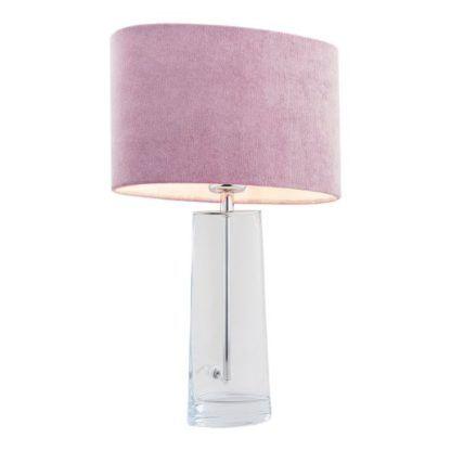 szklana lampa stołowa z welurowym abażurem róż 3841
