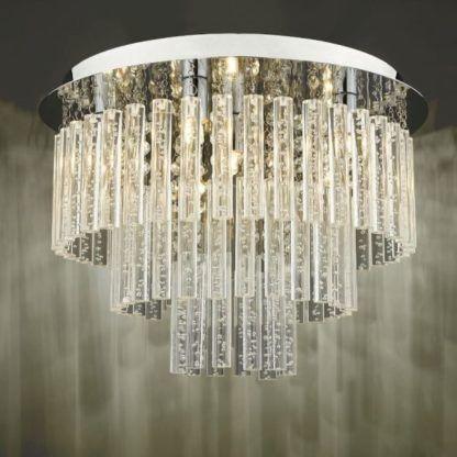 szklana lampa sufitowa ze szklanymi pręcikami