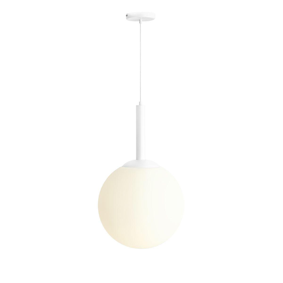biała lampa wisząca duży klosz kula