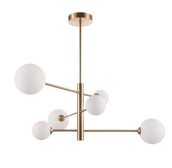 Lampa wisząca Dorado - asymetryczna, 6 szklanych kloszy