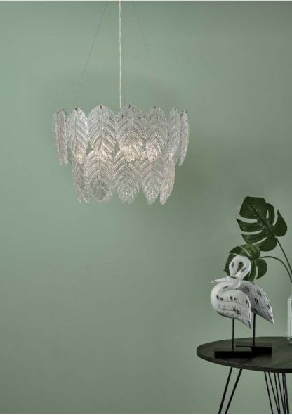 szklane liście lampa wisząca