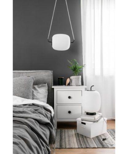 lampy ze szkła do szarej sypialni
