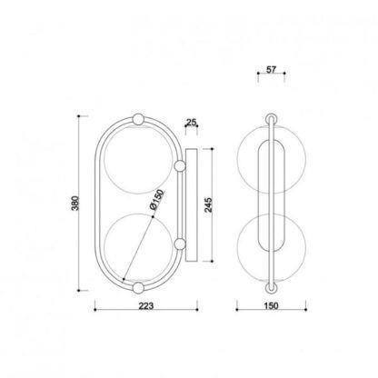 Podwójny kinkiet Koban E - szklane klosze, biały