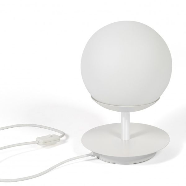 Lampa stołowa Plaat - szklana kula, nowoczesna