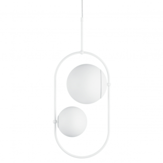 Podwójna lampa wisząca Koban C - szklane kule, biała