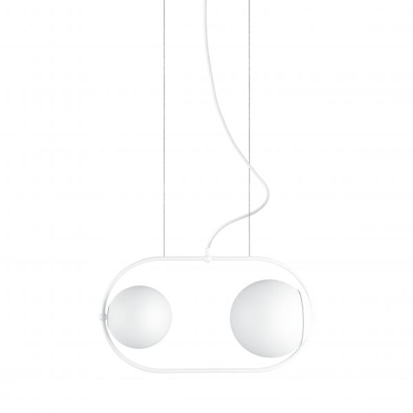 Pozioma lampa wisząca Koban - szklane klosze, biała