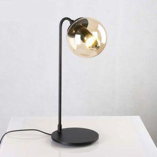Czarna lampa stołowa Astrifero - bursztynowy klosz