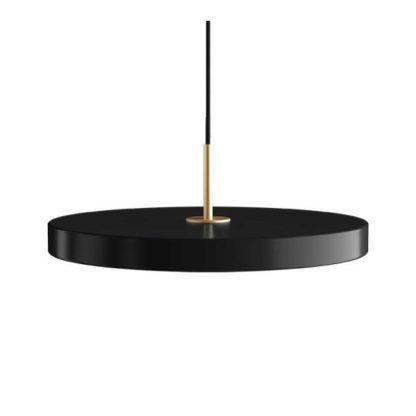 czarna lampa wisząca talerz led