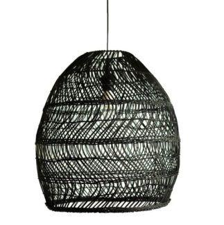 Czarna lampa wisząca Haiti - boho, rattanowy klosz