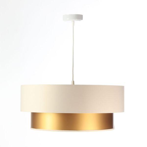 satynowa lampa wisząca do salonu
