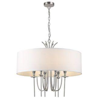 Lampa wisząca Las Vegas - biały abażur, srebrna
