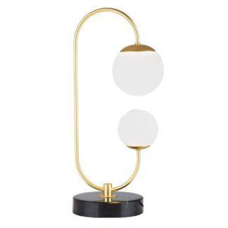 Elegancka lampa stołowa Toro - LED, szklane klosze, marmur