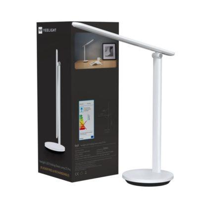 minimalistyczna biała lampa biurkowa
