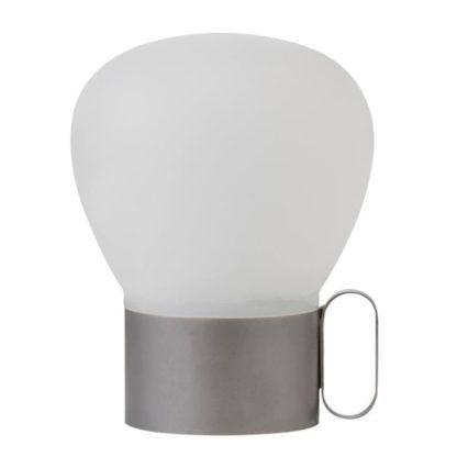 srebrna lampa stołowa bezprzewodowa