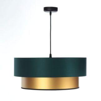 Lampa wisząca Duo - ciemna zieleń, złoto, 50cm