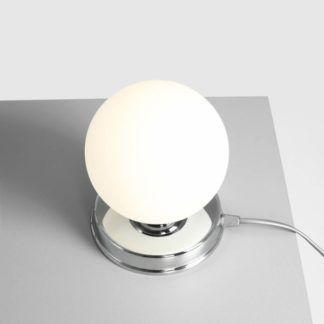 Srebrna lampa stołowa Ball - szklany klosz, mała