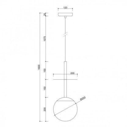Lampa wisząca Plaat Brass - szklany klosz