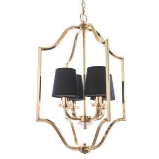 Złota lampa wisząca New York - czarne abażury