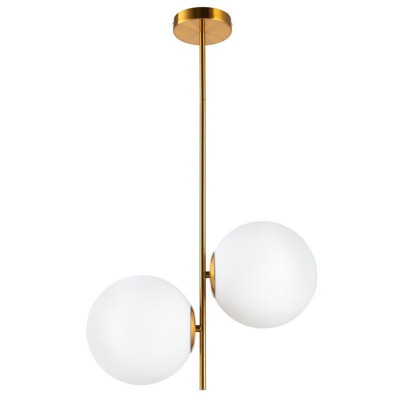 złota lampa ze szklanymi kulami