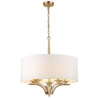 Złota lampa wisząca Atlanta - biały abażur
