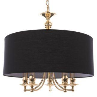 Złota lampa wisząca Abu Dhabi - czarny abażur