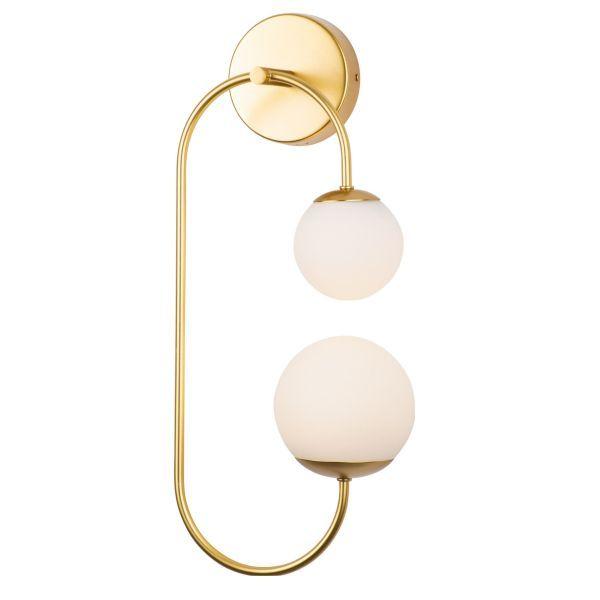 Złoty kinkiet Toro - LED, szklane klosze