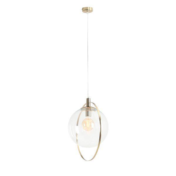 lampa wisząca szklany klosz złota