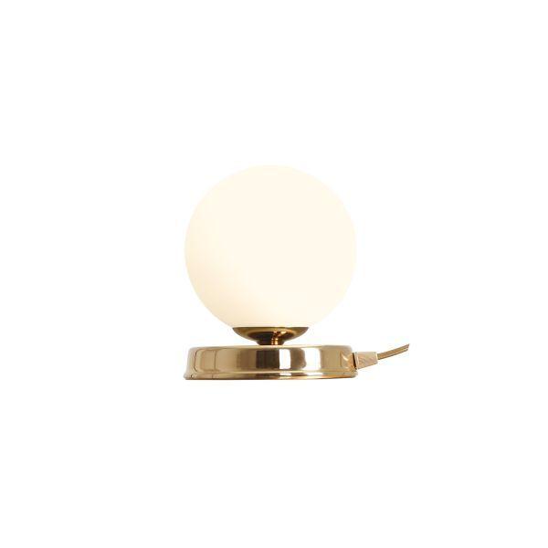 złota lampa nocna szklany klosz
