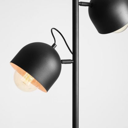 podwójna czarna lampa biurkowa