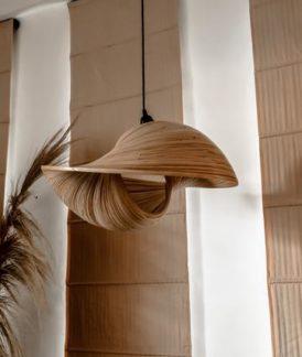 Lampa wisząca Bamboo Elle - bambusowa muszla, S