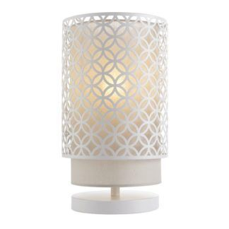 Biała lampa stołowa Gilli - ażurowy klosz