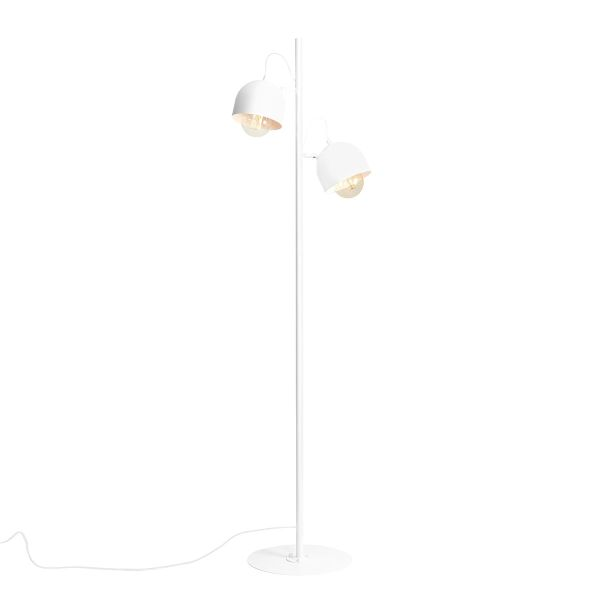 biała lampa podłogowa na 2 klosze