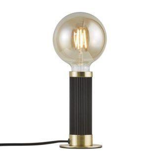 Nowoczesna lampa stołowa Galloway - czerń, mosiądz