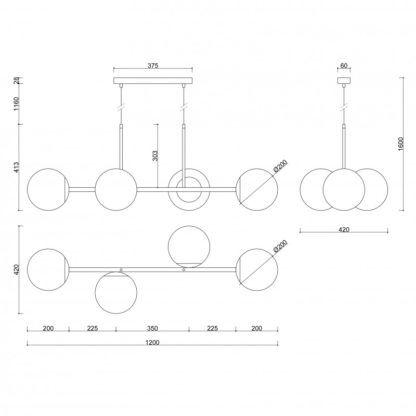 Podłużna lampa wisząca Kop E - czarna, szklane klosze