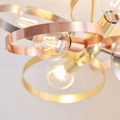 designerska lampa sufitowa metalowe obręcze