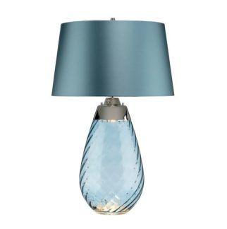Duża lampa stołowa Lena - szklana podstawa, Dual-Lit