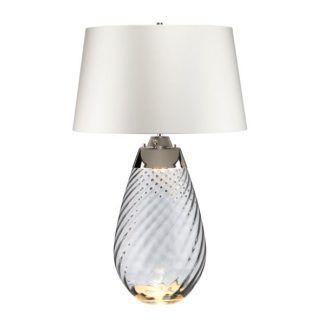 Szara lampa stołowa Lena - szklana podstawa, jasny abażur, Dual-Lit