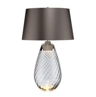lampa stołowa Lena - szary abażur, szklana podstawa, Dual-Lit